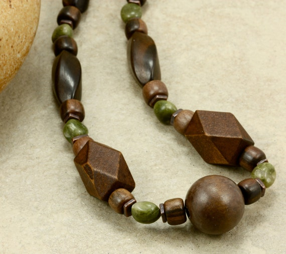 Green Grass Jasper Nugget and Wood Strand Necklace