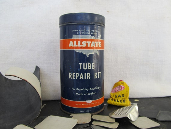 Vintage Advertising Tin Allstate Tube Repair Kit Sears Rubber Tire Patches