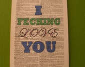 I Fecking Love You Typography Print on Vintage Dictionary Page, Love, Valentine's Day, True Love, First Anniversary, Funny Prints