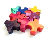 Recycled Rainbow Crayons - Puzzle Piece Crayons Set of 4 (FOUR)
