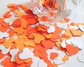 ON SALE 500 Hand-Punched Hearts w/ Mini-Jar - Spring Orange Hearts - Scrapbooking, Confetti, Papermaking, Deco
