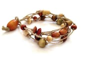 ON SALE Natural Hemp Beaded Bracelet - Multi-Strand Hemp Bracelet with Wooden Beads - EcoFriendly