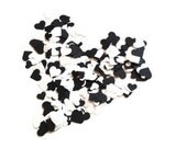 500 Hand-Punched Hearts w/ Mini-Jar - Black & White - Weddings, Scrapbooking Embellishments, Confetti, Valentines Day