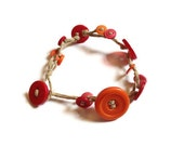 Hemp Bracelet with Buttons - Red, Orange & Pink Buttons - Multi-Strand Hemp Bracelet