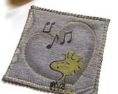 Upcycled Tshirt Coasters - Snoopy Woodstock Peanuts Peace Sign - Cotton Ecofriendly Fiber Coasters