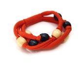 ON SALE Orange T-shirt Bracelet - Knotted w/ Wooden Beads Blue & White - Upcycled EcoFriendly Cotton Summer