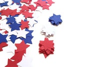 300 Hand Punched Stars - Red White & Blue - 4th of July Memorial Day Labor Day - Scrapbooking, Confetti, Party Decor, Papermaking