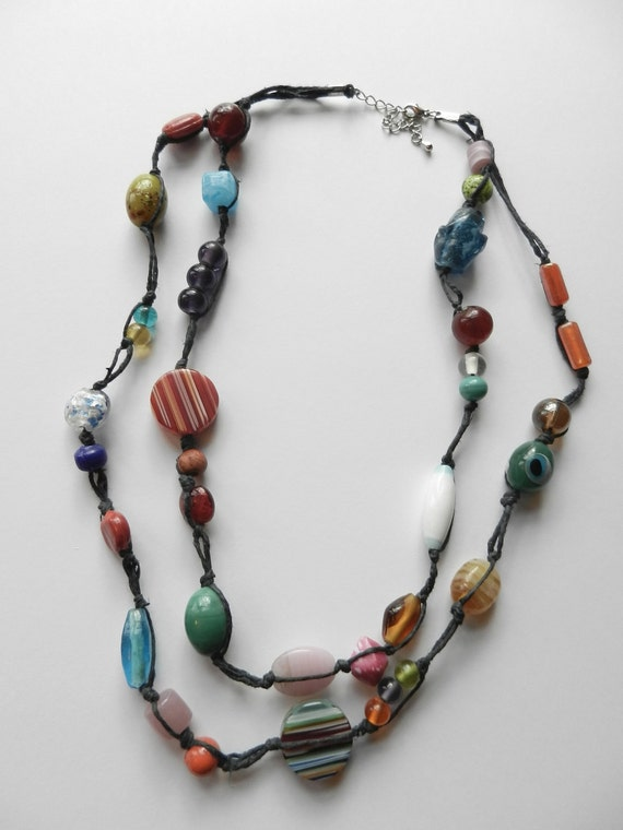 ON SALE Funky Beaded Hemp Necklace - 2 Strands Black Hemp with Assorted Glass Beads