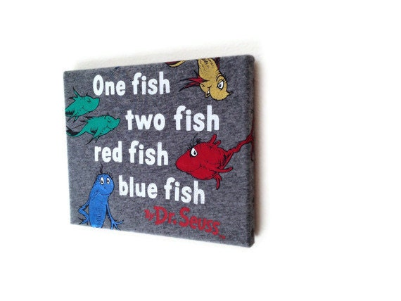 t shirt wall art on canvas wooden frame dr seuss 1 fish 2. Black Bedroom Furniture Sets. Home Design Ideas