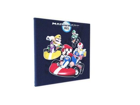 ON SALE T-shirt Wall Art on Canvas Wooden Frame- Mario Kart Wii Mario Bros Nintendo- Hanging 12x12 Wall Art