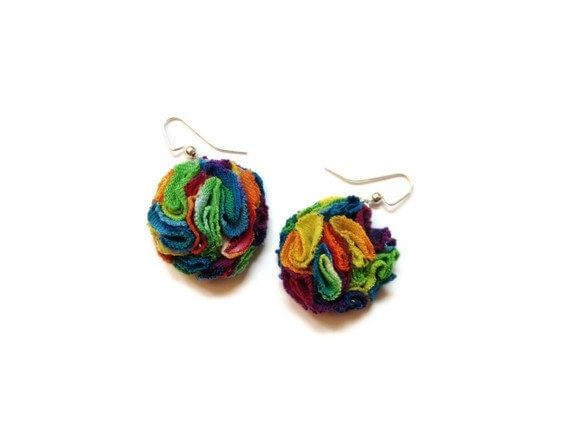 Upcycled/Recycled T-Shirt Earrings - Flower Dangle Earrings - Rainbow Tie-Dye Cotton Fabric