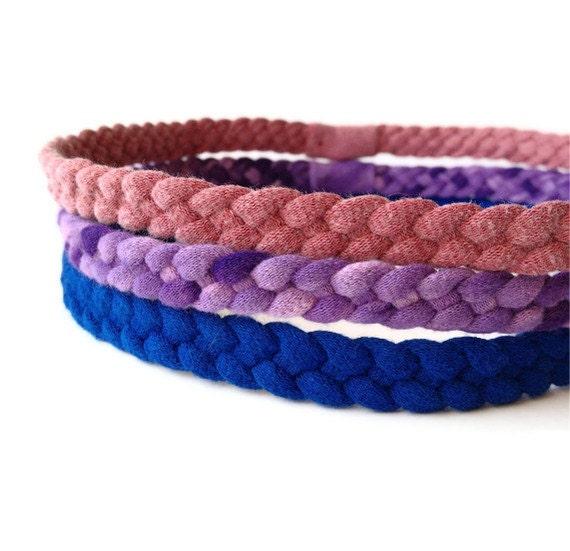 Upcycled Cotton Tshirt Headbands - 3 Pack, Purple, Rose Pink & Blue - EcoFriendly Handmade Tshirt Yarn - Summer Fun Mothers Day