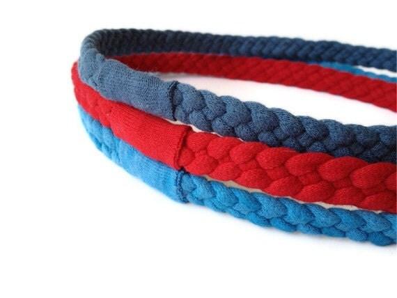Upcycled Cotton Tshirt Headbands - 3 Pack, Blue, Red & Slate Grey/Blue - EcoFriendly Handmade Tshirt Yarn - Summer Nautical