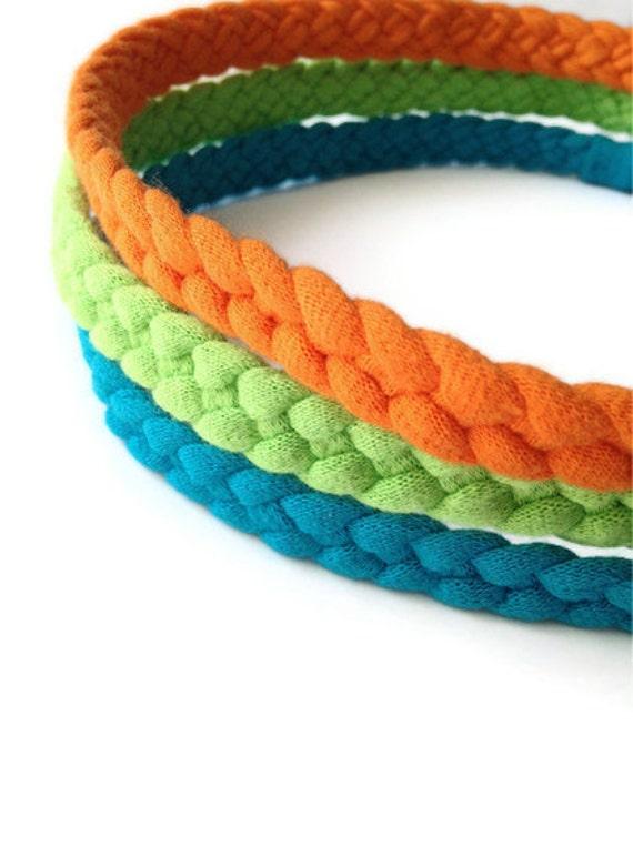 Upcycled Cotton Tshirt Headbands - 3 Pack in Orange, Green & Blue - EcoFriendly Handmade Tshirt Yarn - Summer Nautical