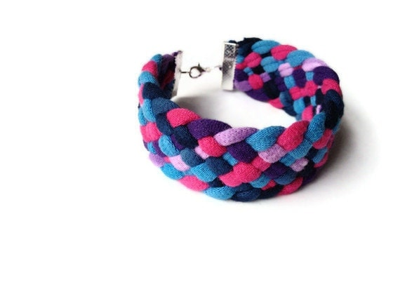 Upcycled Woven Tshirt Bracelet w/ Clasp - Purple Pink Blue Handmade Tshirt Yarn - Summer Fashion EcoFriendly
