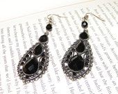 Black Crystal Chandalier Earrings