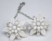 Vintage White Glass Flower Rhinestone Sweater Guard OOAK