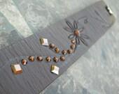 Leather Bracelet Recycled Swarovski Crystal Rhinestones Brown Flower Reclaimed Cuff with Snap BRN-105-1