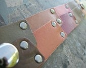 Leather Bracelet Pieced Sections Pink Tan Brown Studs Bangle Cuff with Snap D-66-1