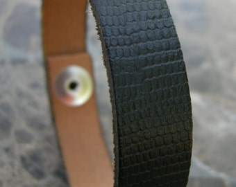 Mens Black Leather Bracelet Snake Skin Texture Recycled Reclaimed Cuff with Snap BLK-42-1