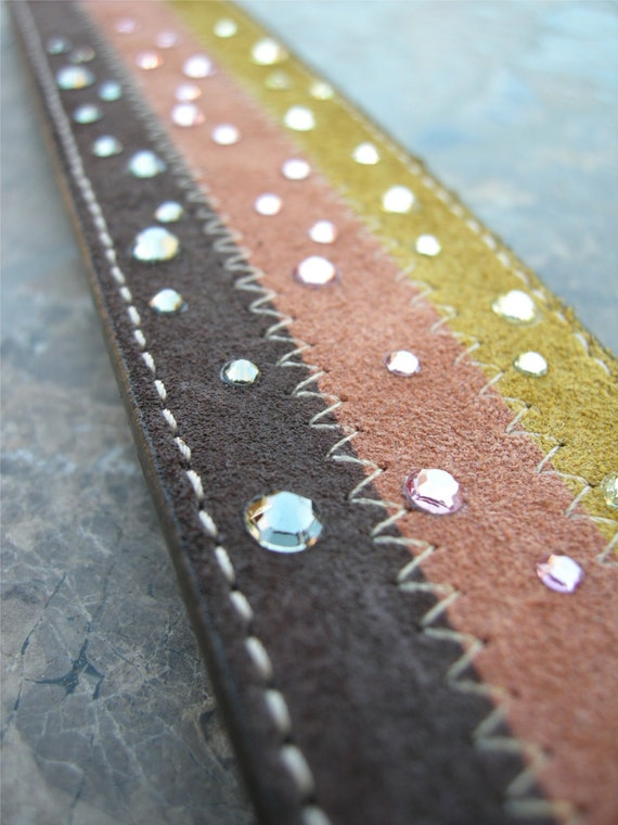 Suade Leather Bracelet Recycled Sparkling Swarovski Crystal Rhinestone Studded Reclaimed Ooak Cuff with Snap D-49-1