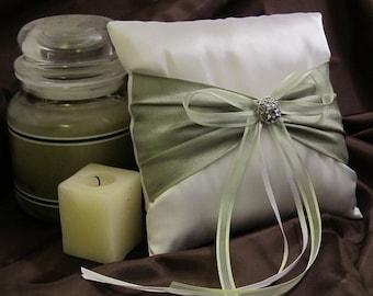 White Satin Ring Bearer Pillow with Sage Green Sash