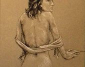"Life Drawing Figure Study Female Nude 10X8"" Matted 14X11"" No.45 Ardena"