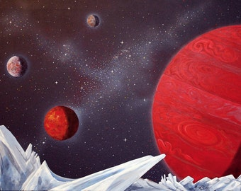 Very Large Original Painting 40x60 in. Jupiter and Moons, Outer Space