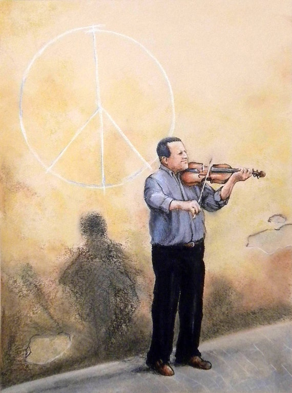 Original Framed Pastel Drawing / Painting 25 x 19 in. Luchese Street Musician Italian violin