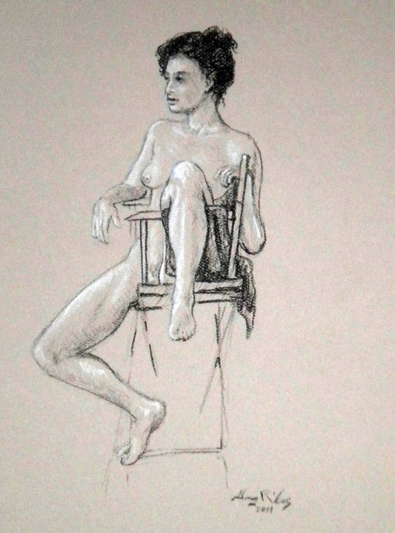 """Life Drawing Figure Study seated Female Nude 14""""X9""""  No.42"""