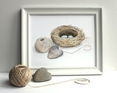 Bird Nest Watercolor, Nest Painting, Sparrow, Blue Eggs, Heart Shaped Rock, Natural Home Garden, Art Print