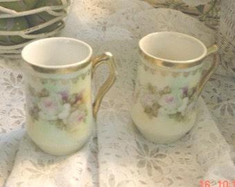 Espresso Cups Bavarian Porcelain China Floral Gold Trimmed