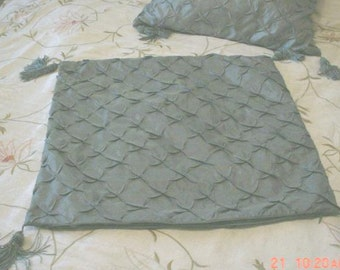 Pillow Shams Pillow Quilted Tassles Custom-Made French Blue