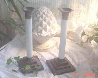Silver Candleholders Vintage White Fluted Shabby Cottage Chic