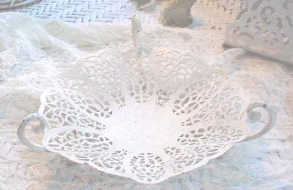 Vintage Cutwork Footed Tray Candy Dish Cottage Chic