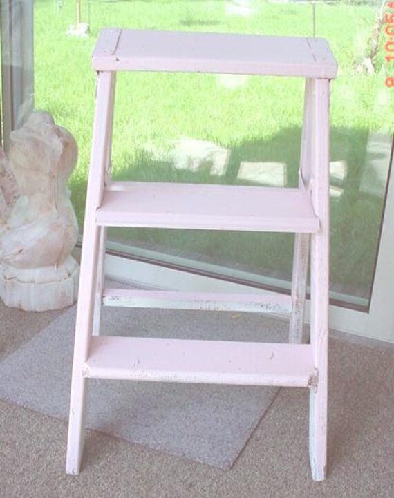 Vintage Small Step Ladder Painted Pink Cottage Chic