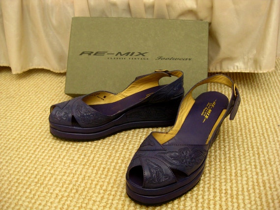 RESERVED FOR Melody Real leather electric purple/blue wedge slingback sandals with flower embossing from Spain 8M
