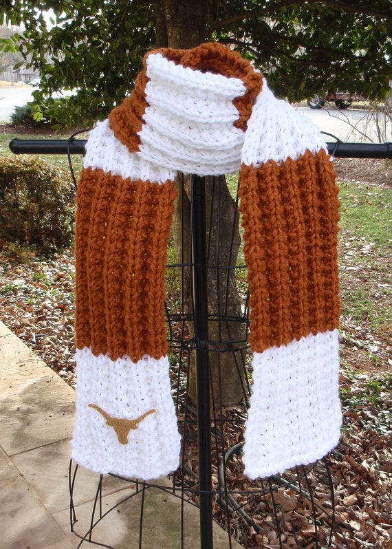 University of Texas Longhorns themed Hand Knit Scarf