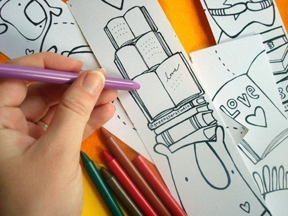Choose your own COLORING BOOK & Bookmark set- choose from 6 titles, adorable monsters by might