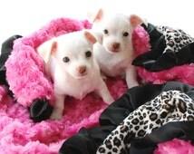 Minky Dog Blanket Hot Pinky Leopard