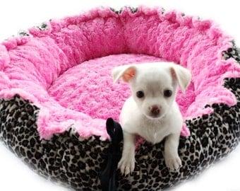 Leopard Minky Pet  Bed