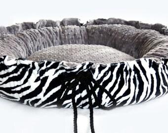Minky Couture Pet Bed Zebra Print Gray Minky
