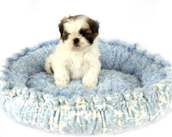 Couture Blue Damask Print Minky Pet Bed