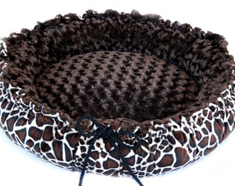 Spring Special Minky Couture Doggie Bed Giraffe Print Brown Minky