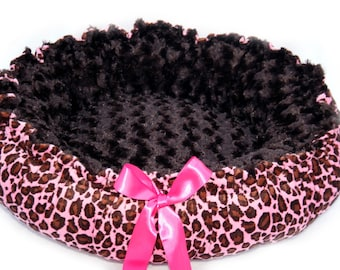 Couture Minky Leopard Print Pet Bed