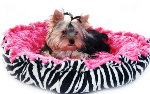 Minky Couture Pet Bed Zebra Print Black