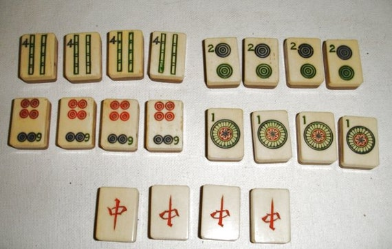 Mahjong Tiles Bamboo Base set of 20 for Jewelry