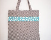 Reusable Tote Bag - Grey and Turquoise