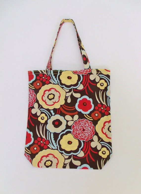 Market Tote Bag - Retro Flowers Cotton Tote