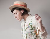 Milly... Oversized Vintage Straw Italian Boater  Hat